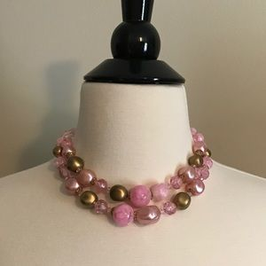 Vintage Pink & Gold 2 Tier Beaded Necklace